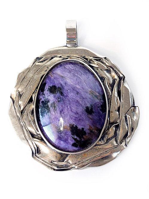 Charoite Pendant Statement Jewelry Piece 925 Sterling Silver
