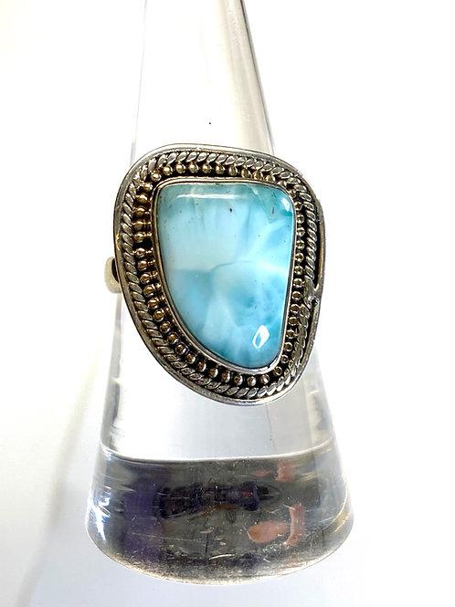 Genuine Larimar Ring Size 7 set in 925 Sterling Silver