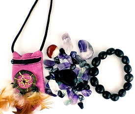 Protection Crystal Healing Pouch PLUS Genuine Jet Stone Bracelet