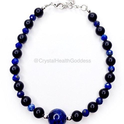 Shungite Bracelet Lapis Lazuli 925 Sterling Silver