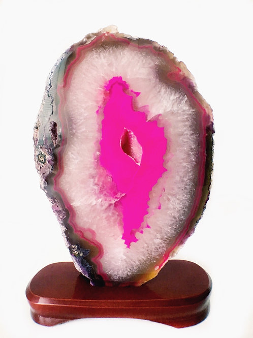 Agate Slab Pink Colors Large Size Comes With Stand
