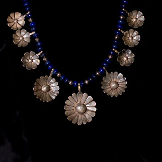 Custom Silver & Lapis Flower Necklace
