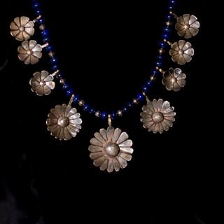 Custom Silver & Lapis Flower Necklace