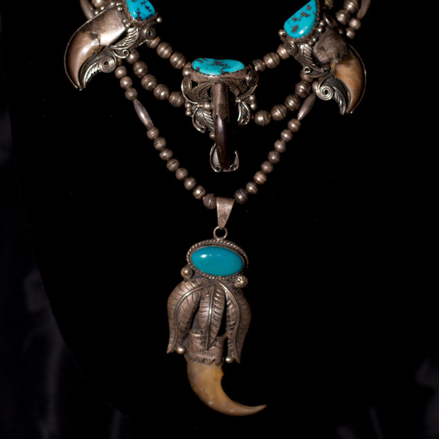 Bear Claw & Turquoise Necklace
