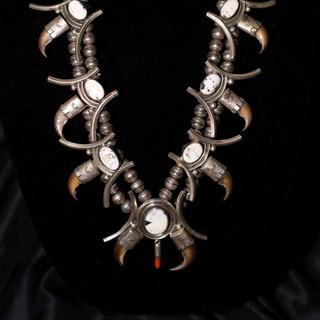 Vintage White Buffalo & Claw Squash Blossom