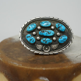 Silver & Turquoise Belt Buckle