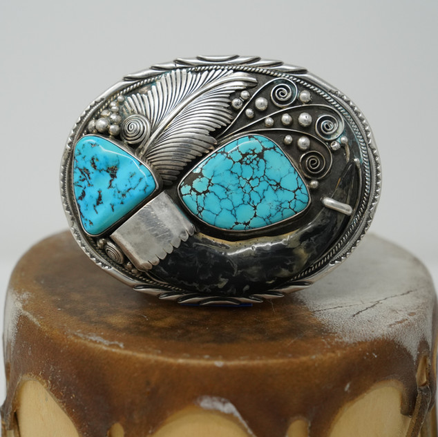Turquoise & Bear Claw Belt Buckle