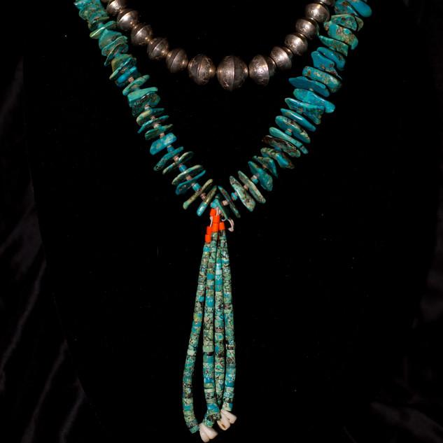 Navajo Pearls & Vintage Santa Domingo Slab Necklace
