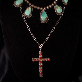 Vintage Turquoise Necklace & Zuni Cross Necklace