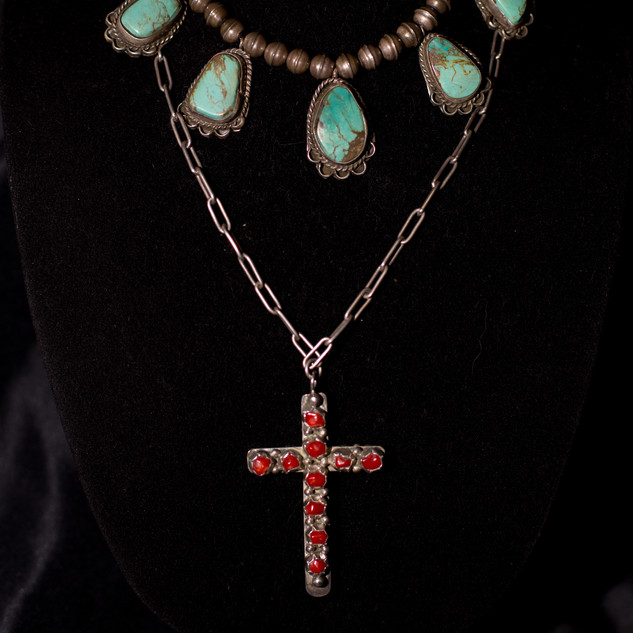 Vintage Turquoise Necklace & Zuni Cross Necklace