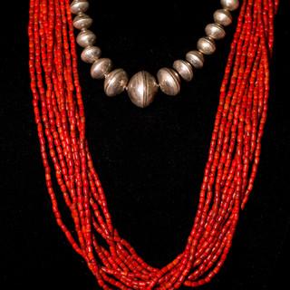 Navajo Pearls & Coral Santa Domingo Necklace