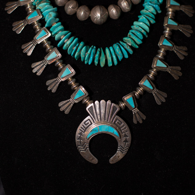 Navajo Pearls, Vintage Sata Domingo Slab Necklace & Hopi Squash Blossom