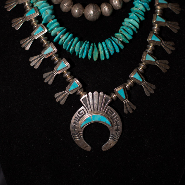 Navajo Pearls, Vintage Sata Domingo Slab Necklace & Hopi Squash Blossom