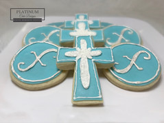 Sugar cookies for the blessing of a baby boy with an 'X' in their first name.  #sugarcookies #babyboy #Christening #baptism #decatur #atlanta #makingmemoriessweeter #platinumcakedesigns