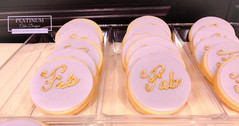 Sugar cookies for a 50th birthday celebration. #gold #purple #sugarcookies #50thbirthday #platinumcakedesigns #makingmemoriessweeter #decatur #atlanta