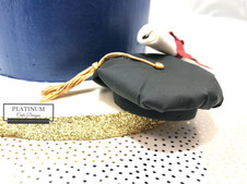 Closeup doctoral cap and diploma:  This is a beautiful blue and teal all-buttercream, double barrel, graduation cake adorned with sprinkles with a hand-painted faultline and handmade edible doctorate cap and diploma. Created by Platinum Cake Designs in Decatur, GA.  #platinumcakedesigns #buttercreamcake #graduationcake #decatur #atlanta