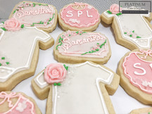 Baby shower cookies for an expectant mother and her baby girl.  #sugarcookies #babygirl #babyshower #decatur #atlanta #makingmemoriessweeter #platinumcakedesigns