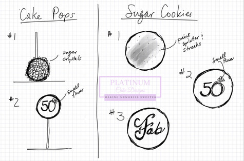 Sketch of cake pops and sugar cookies for a 50th birthday celebration. #gold #purple #cakepops #sugarcookies #sketch #50thbirthday #platinumcakedesigns #makingmemoriessweeter #decatur #atlanta