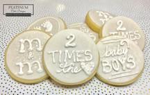 Custom sugar cookies created by Platinum Cake Designs in Decatur, GA to welcome twin baby boys. #makingmemoriessweeter #platinumcakedesigns #customcookies #sugarcookies #allwhite #decatur #atlanta #twins #twinboys #babyboy #babyshower