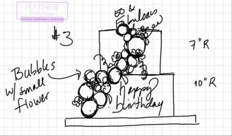 Sketch of a tiered 50th birthday cake covered in fondant and has cascading edible balloons and sugar flowers.  Created by Platunum Cake Designs in our Decatur, Ga studio.  Making Memories Sweeter #platinumcakedesigns #decatur #fondant #50thbirthday #birthdaycake #tieredcake #purple