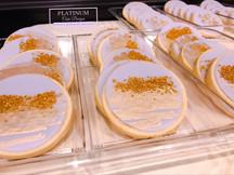 Sugar cookies for a 50th birthday celebration. #gold #purple #sugarcookies #50thbirthday #platinumcakedesigns #makingmemoriessweeter #decatur #atlanta