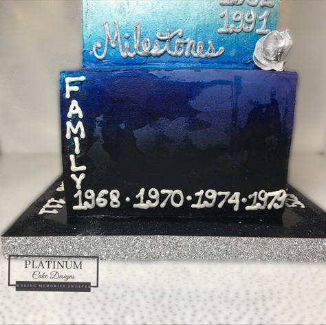 Closeup of bottom tier: 3-tiered 70th birthday cake celebrating the important milestones in the celebrants life. Created by Platunum Cake Designs in our Decatur, Ga studio.  Making Memories Sweeter  #70thbirthday #birthdaycake #platinumcakedesigns #decatur
