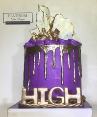 All purple buttercream drip cake topped with white chocolate sails and gold drip and the iconic Crown Royal rope.    Created by Platunum Cake Designs in our Decatur, Ga studio.  Making Memories Sweeter #platinumcakedesigns #decatur #buttercreamcake #crownroyal #purple #gold #dripcake #chocolatesails