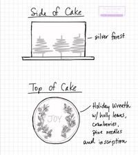 Sketch of Winter Wonderland Cake featured on the Life with Lynn Lilly Show. Snow covered trees line the sides of the cake and it is topped with the inscription 'JOY' and an all pearlized wreath of pinecones, leaves, and berries. Created by Platinum Cake Designs in our cake studio in Decatur, GA  Making Memories Sweeter. #platinumcakedesigns #decatur #atlanta #sketch #winterwonderland #wintercake #christmascake #december #joy