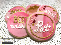 Custom sugar cookies created by Platinum Cake Designs in Decatur, GA as a gift for a woman retiring. #makingmemoriessweeter #platinumcakedesigns #customcookies #sugarcookies #decatur #atlanta #retirementparty