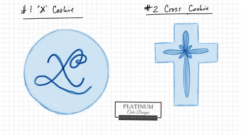 Sketch of sugar cookies for the blessing of a baby boy with an 'X' in their first name.  #sugarcookies #babyboy #Christening #baptism #sketch #decatur #atlanta #makingmemoriessweeter #platinumcakedesigns
