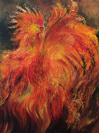 Fire Rooster Greeting Card