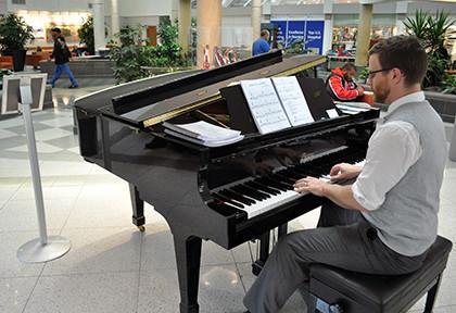 Piano Player in Duke Hospital Lobby