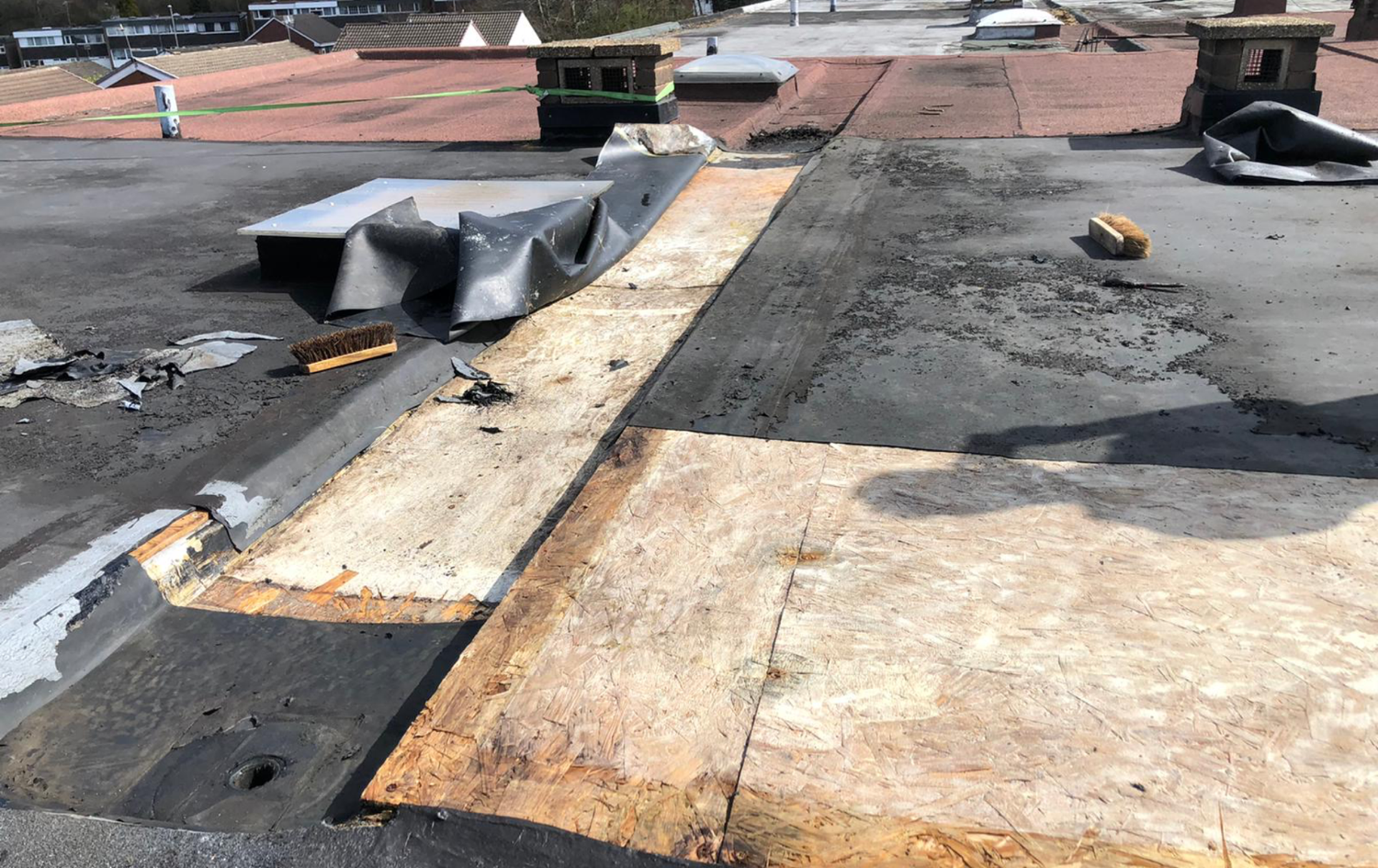 This is how the roof unfortunately looks on top so we recommended the customer that he will need a new roof.