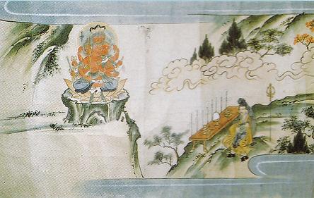 行者、箕面山で修業の絵図