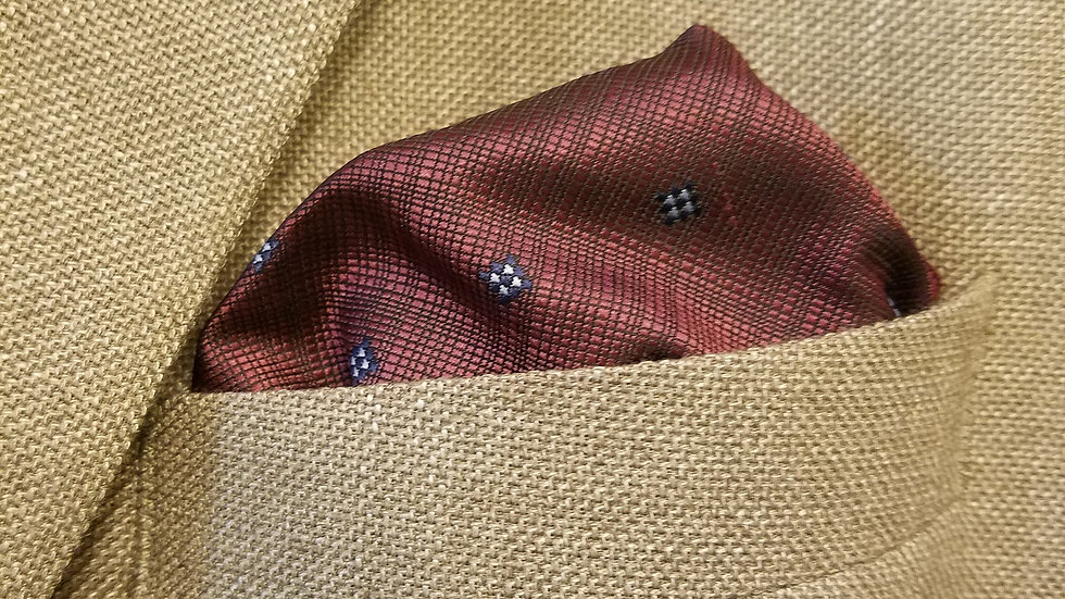 Burgundy Grey Pocket Square