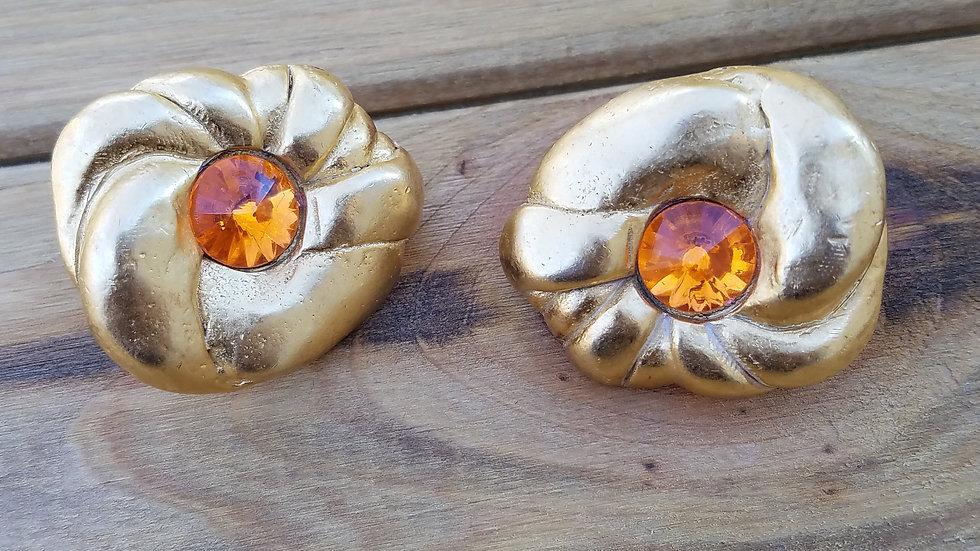 Hammered Gold & Orange Clip-ons