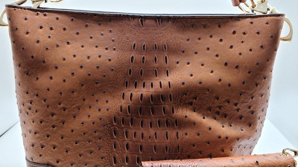 Brown Ostrich Croc 2-in-1 Bucket Bag