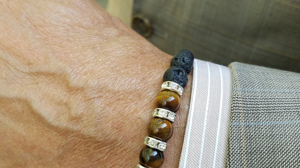 Unisex Tiger Eye Beaded Bracelet