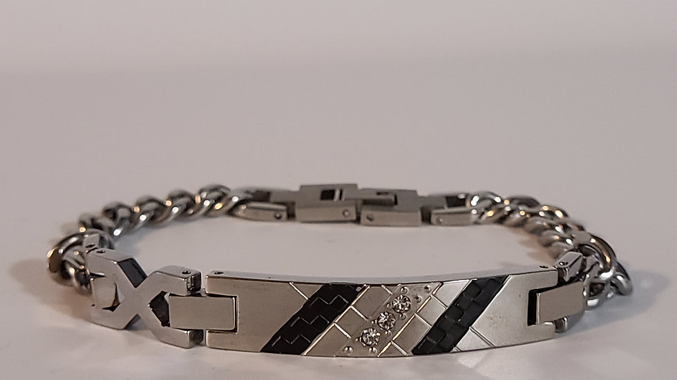 Men's Silver and Black Bracelet