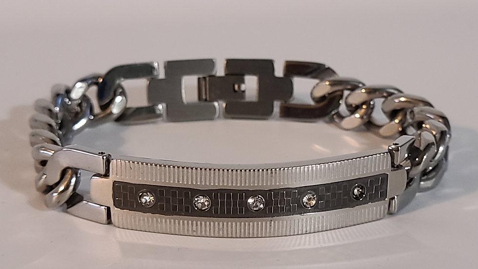 Men's Silver Black Link Bracelet