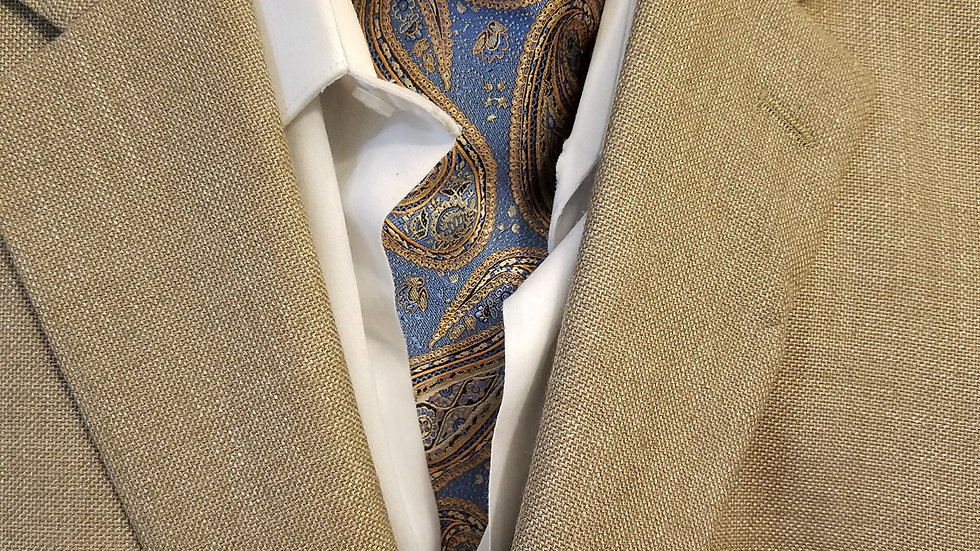 Colonial Blue/Gold Ascot & Pocket Square