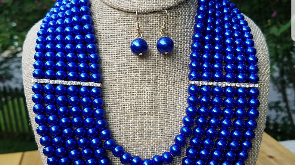 Multi Strand Royal Blue Pearl Set