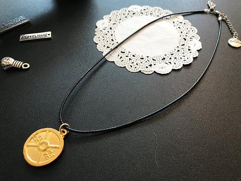 ゴールドウエイトネックレス|革紐(黒)40cm