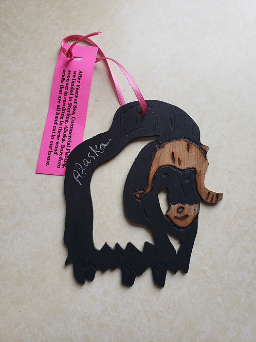 Wooden Musk Ox Ornament