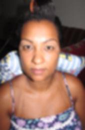 Antes da maquiagem. Pele negra.