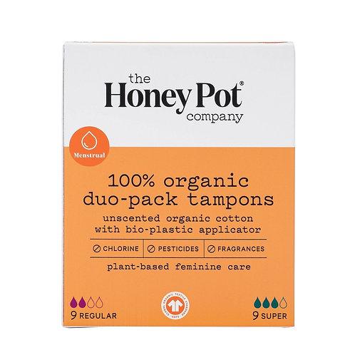 The HoneyPot Co. 100% Organic, Duo PackTampons w/Bioplastic Applicator.  18 Ct