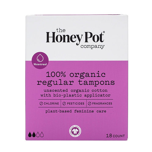 The HoneyPot Co 100% Organic, Regular Tampons w/Bioplastic Applicator. 18 Ct