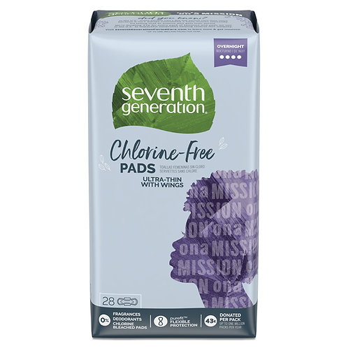Seventh Generation Ultra Thin Pads, Overnight with Wings, Free & Clear, 28 count