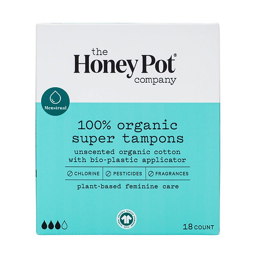 HoneyPot Co., 100% Organic, Super Tampons w/Bioplastic Applicator. 18 Ct