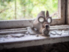 Old children's gas mask inside of the ab